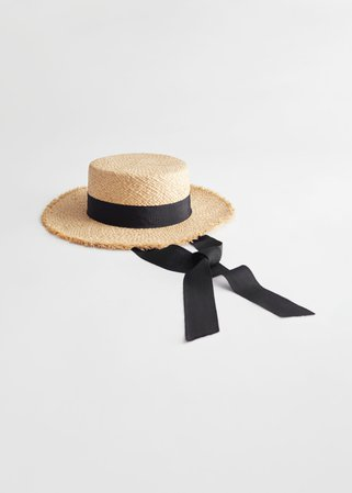 Straw Ribbon Boater Hat - Natural Straw - Hats - & Other Stories