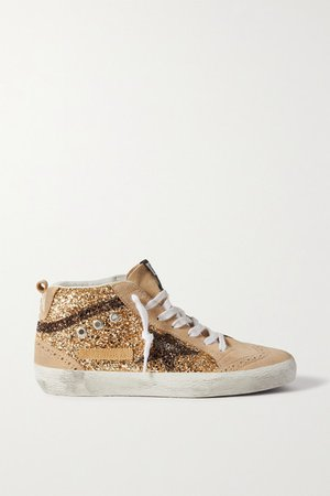 Midstar Glittered Distressed Suede High-top Sneakers
