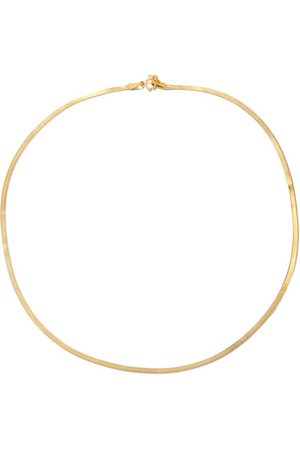 LOREN STEWART Herringbone 10-karat gold necklace$325