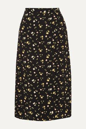 Betty Floral-print Crepe De Chine Wrap Skirt - Black
