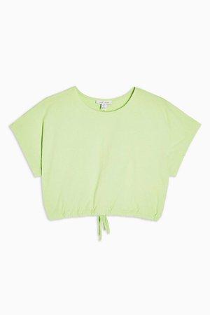 Green Bubble Hem Crop Top | Topshop