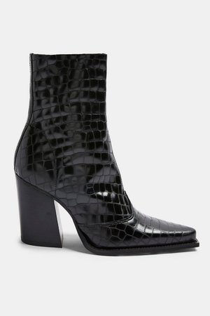 HUNGARY Black Crocodile Leather Western Boots | Topshop