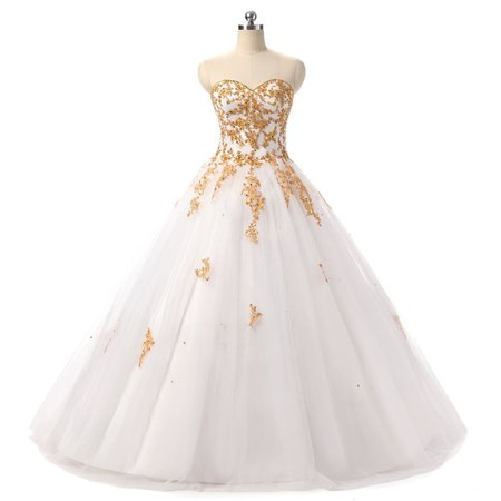White and Gold Princess Wedding Dresses