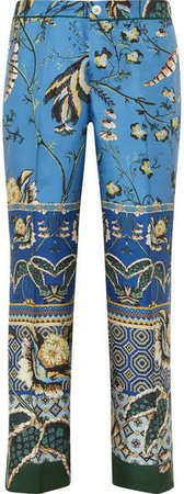 F.R.S For Restless Sleepers - Ceo Printed Silk-satin Twill Straight-leg Pants - Blue