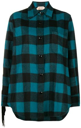 fringed check shirt