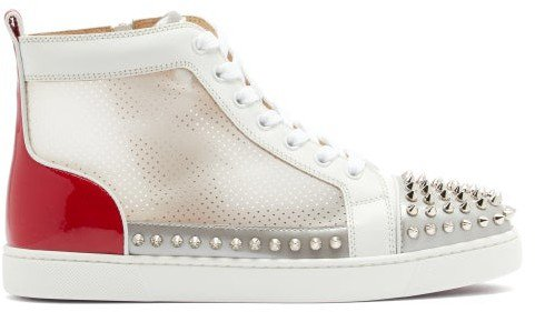 Donna Studded Leather And Mesh High-top Trainers - White Multi