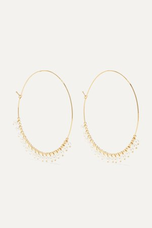 Gold 14-karat gold pearl hoop earrings | Mizuki | NET-A-PORTER