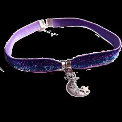 Purple Velvet Choker (moon pendant)