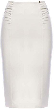 Nissa Ruched Office Skirt White
