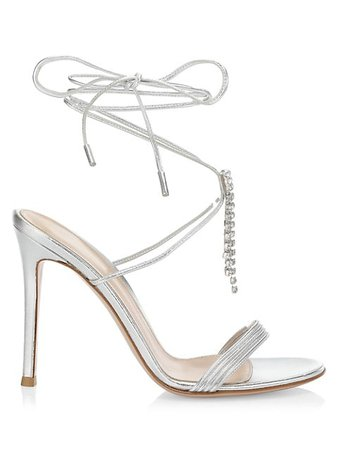 Gianvito Rossi Dynasty Crystal-Embellished Metallic Leather Sandals | SaksFifthAvenue