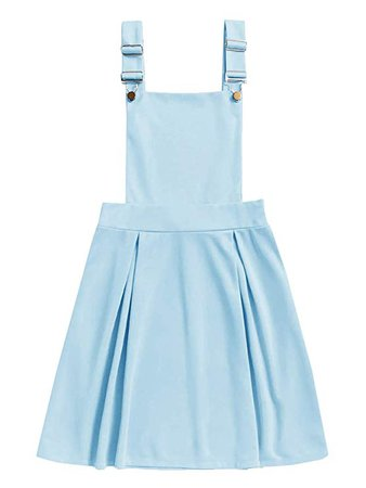 ROMWE Women's Cute A Line Adjustable Straps Pleated Mini Overall Pinafore Dress at Amazon Women's Clothing store