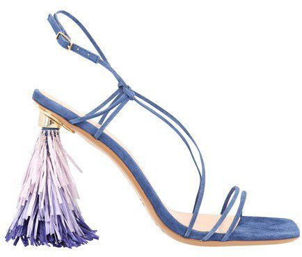 Raffia sandals with heels