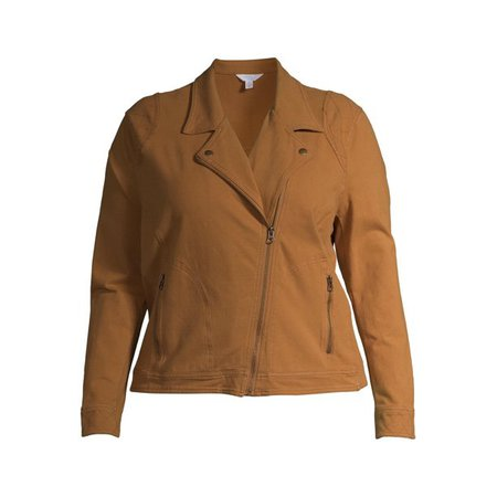Time and Tru - Time and Tru Women's Plus Size Casual Knit Moto Jacket - Walmart.com - Walmart.com