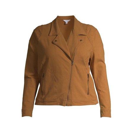 Time and Tru - Time and Tru Women's Plus Size Casual Knit Moto Jacket - Walmart.com - Walmart.com