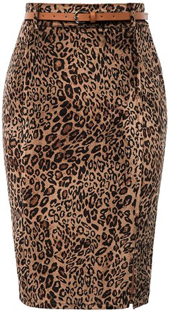 Kate Kasin Women's Bodycon Pencil Skirt with Blet Solid Color Hip-Wrapped at Amazon Women's Clothing store