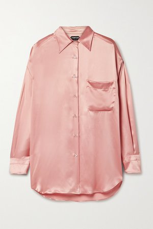 Silk-satin Shirt - Antique rose