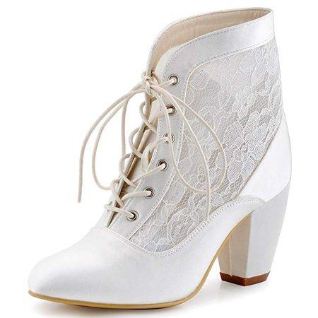 Amazon.com | ElegantPark HC1559 Women Closed Toe Chunky Heel Lace Up Sexy Lace Wedding Bridal Boots Ivory US 7 | Ankle & Bootie