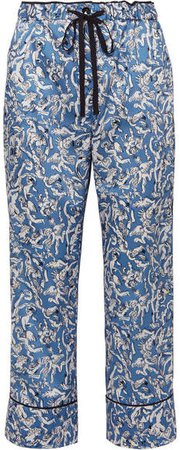 Victoria, Cropped Printed Satin-twill Straight-leg Pants - Blue