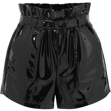 Belted Patent-leather Shorts - Black
