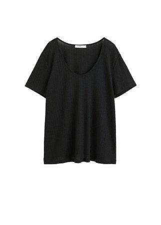 Violeta BY MANGO Textured striped t-shirt