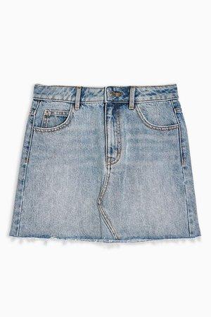 PETITE Mid Blue Wash High Waist Denim Skirt | Topshop