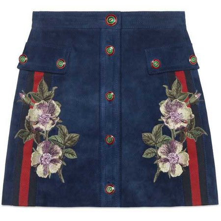 GUCCI Embroidered Suede Skirt ($2,325)