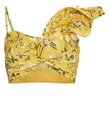 AMUR Della Ruched Floral Crop Top   INTERMIX®