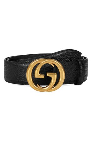 Gucci Interlocking-G Calfskin Leather Belt | Nordstrom