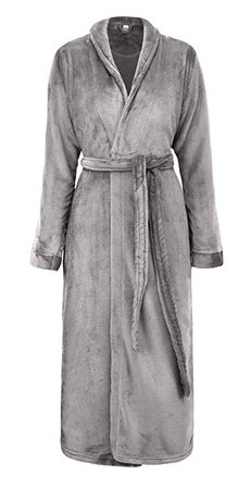 Simplicity Unisex Plush Spa Hotel Kimono Bath Robe Bathrobe Sleepwear Steel Grey, One Size at Amazon Women's Clothing store: Long Fleece Robe