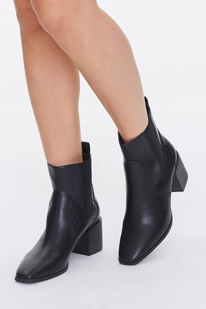 Faux Leather Square Toe Booties | Forever 21