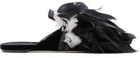 Sanayi 313 Cigno Feather-embellished Velvet Slippers