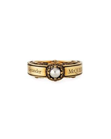 Alexander McQueen Men's Engraved Skull Ring, Size 9-10   Neiman Marcus