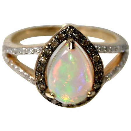 Natural Opal, Champagne and White Diamonds, 14K Gold Engagement Ring : Travelers | Ruby Lane