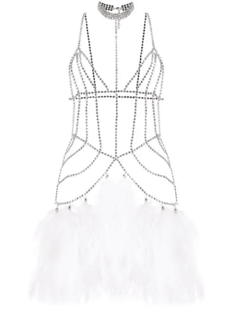 Alessandra Rich Crystal Embellished Body Jewellery In White | ModeSens