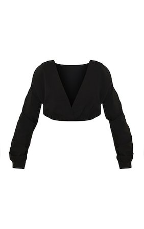 Black Woven Plunge Long Sleeve Cropped Blouse - Blouses - Tops - from $7 - Clothing   PrettyLittleThing USA