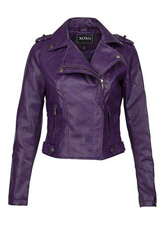 Womens Purple Faux Leather Moto Biker Jacket at Amazon Women's Coats Shop