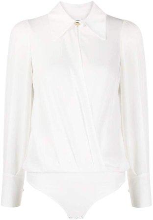 shirt-style oversized collar bodysuit