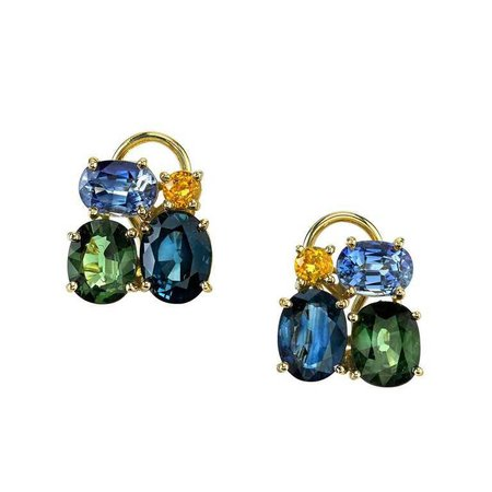 Multi-Color Sapphire Earclips 18 Karat Yellow Gold For Sale at 1stdibs