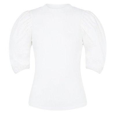 White Poplin Puff Sleeve Ribbed T-Shirt | New Look
