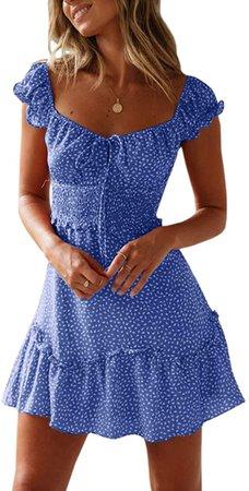 Yobecho Womens Summer Ruffle Sleeve Sweetheart Neckline Printing Dress Mini Dress Blue at Amazon Women's Clothing store