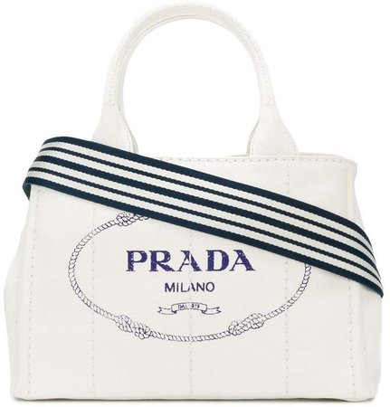 White logo Medium canvas tote bag