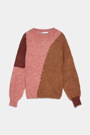 COLOR BLOCK SWEATER - BEST SELLERS-WOMAN | ZARA United States pink brown red