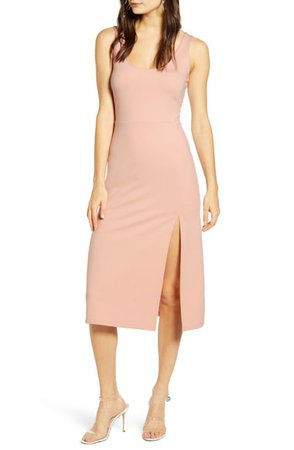 Leith Scoop Neck Midi Dress | Nordstrom
