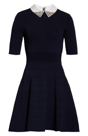 Ted Baker London Embellished Collar Knit Fit & Flare Dress   Nordstrom