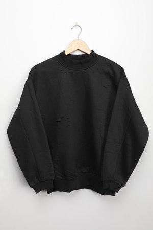 Black Sweatshirt - Distressed Sweatshirt - Oversized Pullover