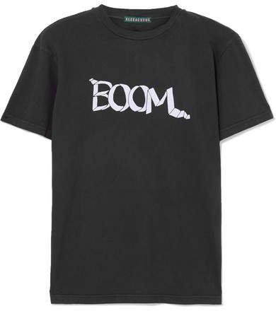 Flocked Cotton-jersey T-shirt - Black