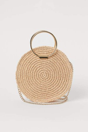 Round Straw Shoulder Bag - Beige