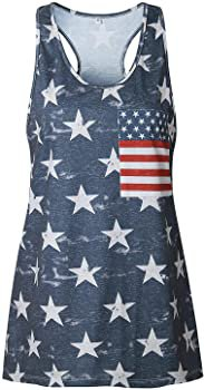 CM-Kid Women's American Flag Tank Tops 4th of July Camo Tee Summer Loose Sleeveless Country Patriotic USA T Shirts at Amazon Women's Clothing store