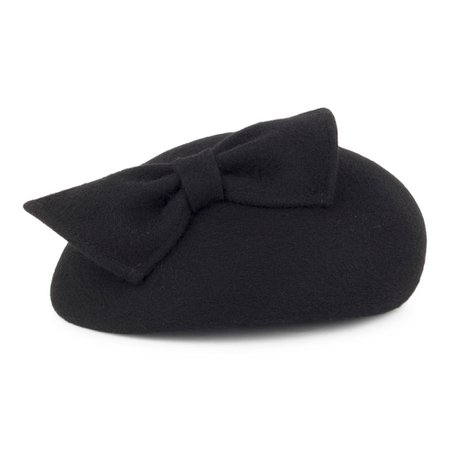 Whiteley Hats Kate Pillbox Hat With Bow - Black from Village Hats.