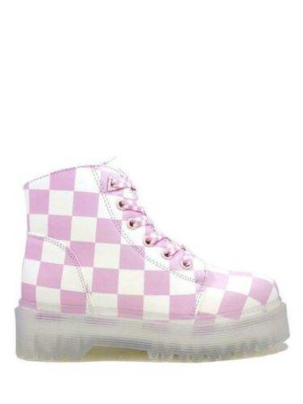 YRU Slayr Slayer Checkered Pink White Military Pink Goth Kawaii Platforms Boots | eBay